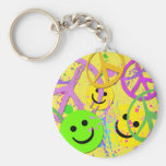 SMILEYS AND PEACE SIGNS BASIC ROUND BUTTON KEYCHAIN