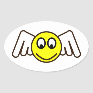 Smilie angel smiley fishing rod oval stickers