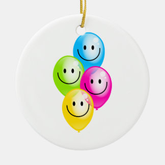 Smilie Balloons Double-Sided Ceramic Round Christmas Ornament
