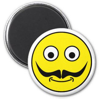 Smilie bigote smiley moustache imán redondo 5 cm