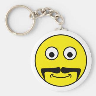Smilie bigote smiley moustache llavero redondo tipo pin
