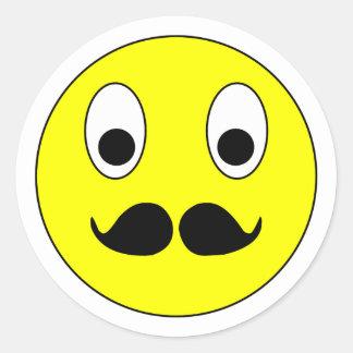 Smilie bigote smiley moustache mustache pegatina redonda