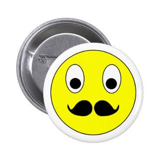 Smilie bigote smiley moustache mustache pin redondo de 2 pulgadas