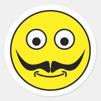 Smilie bigote smiley moustache pegatina redonda