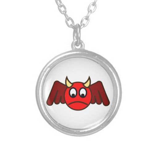 Smilie depths smiley devil round pendant necklace