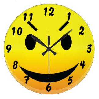 Smilie Face Evil Large Clock