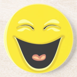 Smilie face laughing sandstone coaster