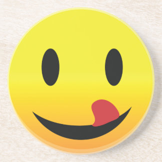 Smilie Face Lick Lips Drink Coaster