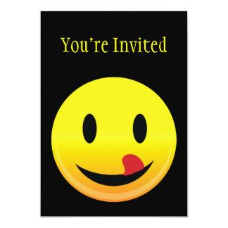 Smilie Face Lick Lips 5x7 Paper Invitation Card