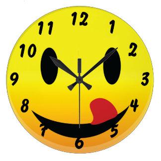 Smilie Face Lick Lips Large Clock