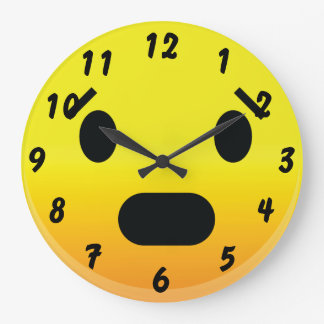 Smilie Face Scared Large Clock