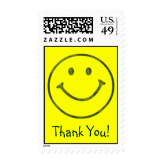 Smilie face Thank You Postage Stamp