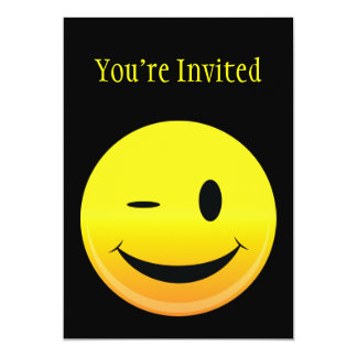 Smilie Face Wink 5x7 Paper Invitation Card