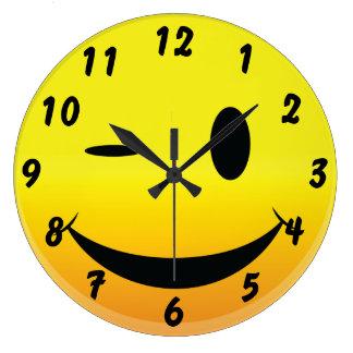 Smilie Face Wink Large Clock