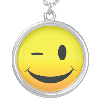 Smilie Face Wink Silver Plated Necklace