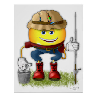 Smilie Fisherman Emoticon Posters