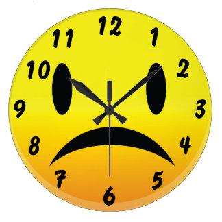 Smilie hace frente a triste reloj de pared