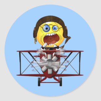 Smilie's Courage in the Airplane Classic Round Sticker