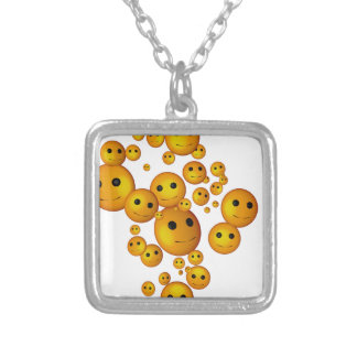smilies silver plated necklace