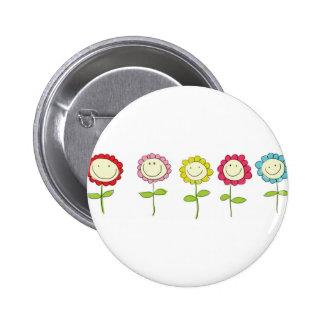 Smilin' Flowers Pinback Button