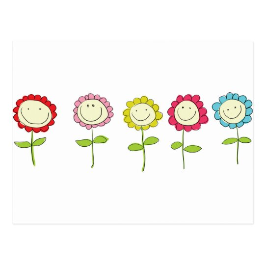 Smilin' Flowers Postcard