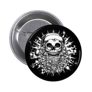 Smilin' Santa Skull -bw Pin
