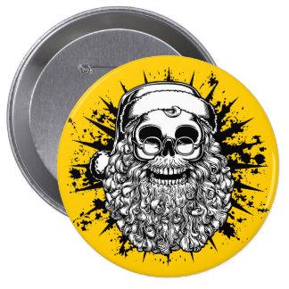 Smilin' Santa Skull -bw Pinback Button