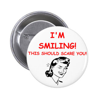 smiling 2 inch round button