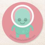 Smiling Alien Round Paper Coaster