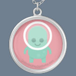 Smiling Alien Silver Plated Necklace