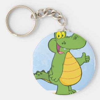 Smiling Alligator Or Crocodile Basic Round Button Keychain