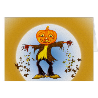 Smiling and dancing Halloween Scarecrow Card