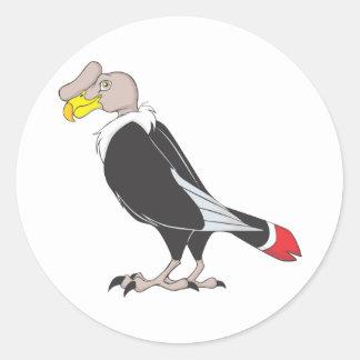 Smiling Andean Condor Bird Round Sticker