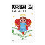Smiling angel with halo and butterfly wings stamps