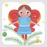 Smiling angel with halo and butterfly wings, square stickers