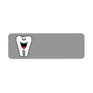 Smiling animated Tooth Return Address Labels