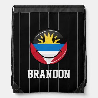 Smiling Antigua and Barbuda Flag Drawstring Backpack