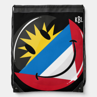 Smiling Antigua and Barbuda Flag Drawstring Bag