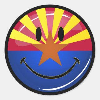 Smiling Arizona Flag Classic Round Sticker