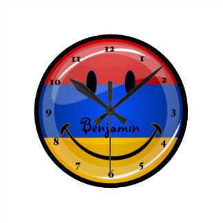 Smiling Armenian Flag Round Clock