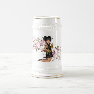 Smiling Asian Girl Cherry Blossom Tree Branchs Beer Stein