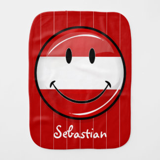 Smiling Austrian Flag Burp Cloths