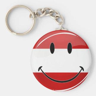 Smiling Austrian Flag Basic Round Button Keychain