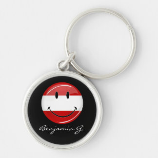 Smiling Austrian Flag Silver-Colored Round Keychain