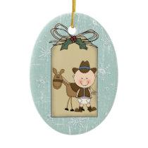 Smiling Baby Boy Cowboy Pony 2-Sided Gift Tag Ceramic Ornament