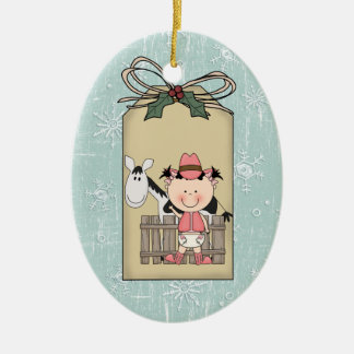 Smiling  Baby Girl Cowgirl Pony 2-Sided Gift Tag Ceramic Ornament