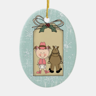 Smiling Baby Girl Toddler Cowgirl Pony Gift Tag Ceramic Ornament