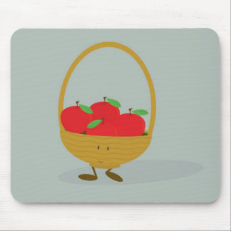 Smiling basket filled with apples mouse pad