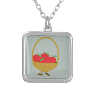 Smiling basket filled with apples square pendant necklace