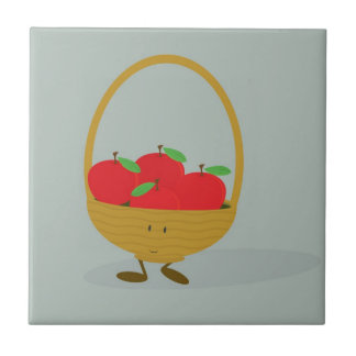 Smiling basket filled with apples ceramic tile
